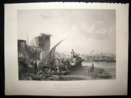 After Jacobs 1859 Antique Print, Morning on the Nile, Egypt, Art Journal